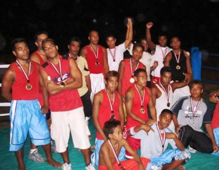 Boxers Celebrate the End of First Competition in Kiribati