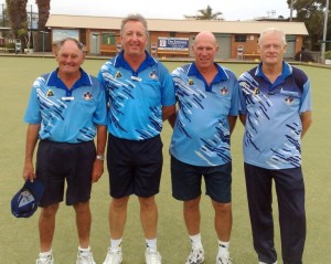 2013 BCC Zone 15 Presidents Reserve Winners (L to R) Trevor Hilliard, Darren Hooper, Brett Abrahams & Phil Morris (Wamberal) 