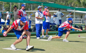 Shane White (left) and Harley McDonald in action for Ettalong in Round 2 at Bateau Bay