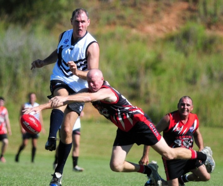 Port Macquarie-Hastings Mayor Peter Besseling kicked four goals in his AFL debut playing for the Magpies. Photo: Port Macquarie News