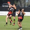 Mitch Lolback takes a contested mark for Grafton. Photo: Debrah Novak/Daily Examiner