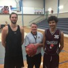 Photo is L-R: Tall Timber on the courts this summer: Tom Giles (Hackers), Leading Senior Referee – Ian Barham and Devon McGee (Piranhas)