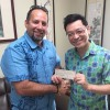 Republic of China (Taiwan) Ambassador Winston Chen (right) presented a check for $500 to Marshall Islands Basketball Federation President Sherwood Tibon.