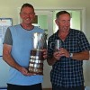 Peter and Trevor collecting 2017 Open trophy