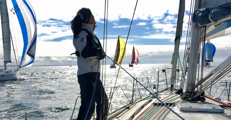 Cate Parsons spinnaker trimming aboard Cavarlo for ORCV Women's Skippers and Navigators Race 2017