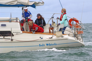 Sarah Allen at the helm of Salt Whistle